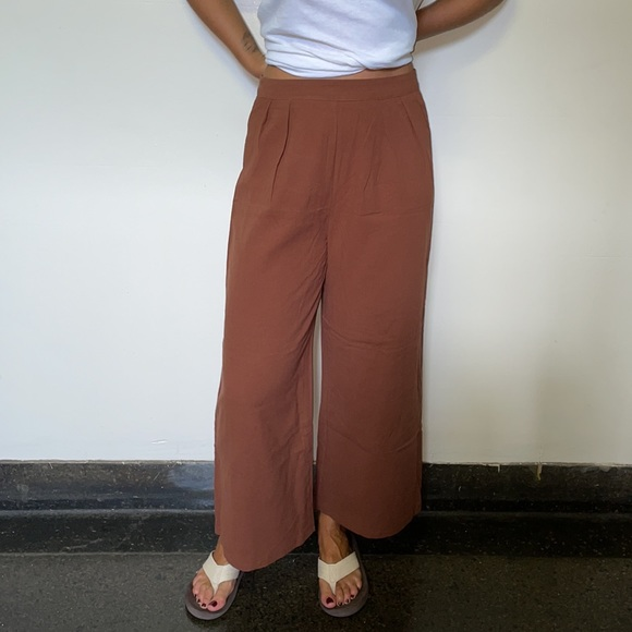 Chocolate Brown cotton wide leg pants
